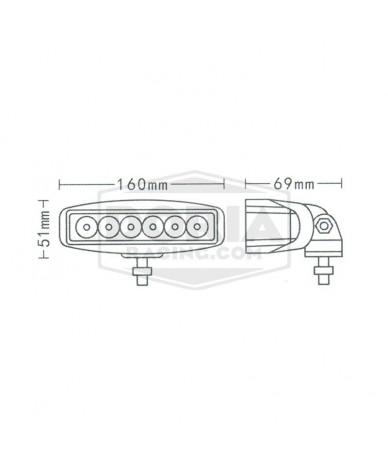 Foco rectangular 6 LEDs estanco